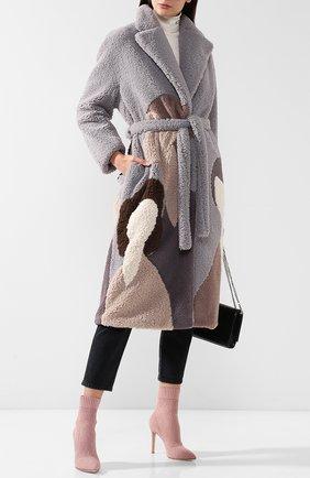 Пальто из искусственного меха с поясом Ruban разноцветного цвета | Фото №1