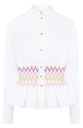 Женская приталенная хлопковая блуза с контрастной вышивкой Emilio Pucci, цвет белый, арт. 8RRJ15/8R679 в ЦУМ | Фото №1