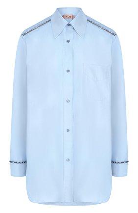 Женская хлопковая блуза с декоративной отделкой N21 голубого цвета, арт. 18I N2P0/G951/0605   Фото 1