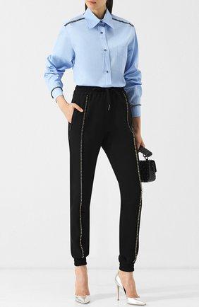 Женская хлопковая блуза с декоративной отделкой N21 голубого цвета, арт. 18I N2P0/G951/0605   Фото 2