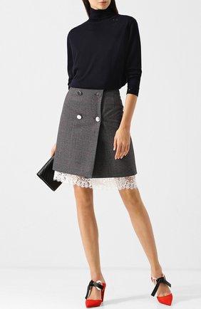 Шерстяная мини-юбка с кружевной отделкой CALVIN KLEIN 205W39NYC темно-серая | Фото №1