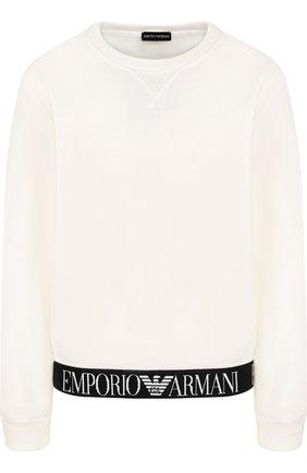 Хлопковый пуловер с логотипом бренда   Фото №1