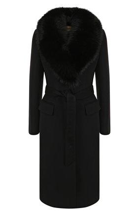 Кашемировое пальто с поясом и меховым воротником | Фото №1