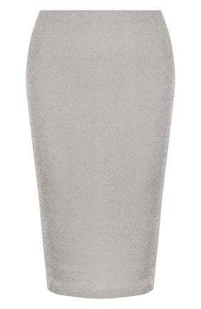 Женская вязаная юбка-карандаш из смеси кашемира и вискозы RALPH LAUREN серебряного цвета, арт. 290720018 | Фото 1