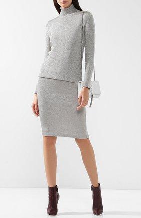 Женская вязаная юбка-карандаш из смеси кашемира и вискозы RALPH LAUREN серебряного цвета, арт. 290720018 | Фото 2