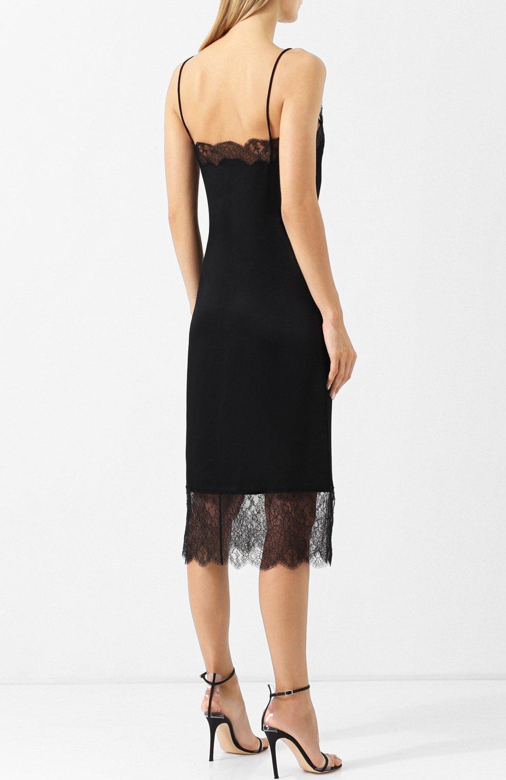 8ac0ec8d502 Женское черное однотонное платье-комбинация с кружевной отделкой ...