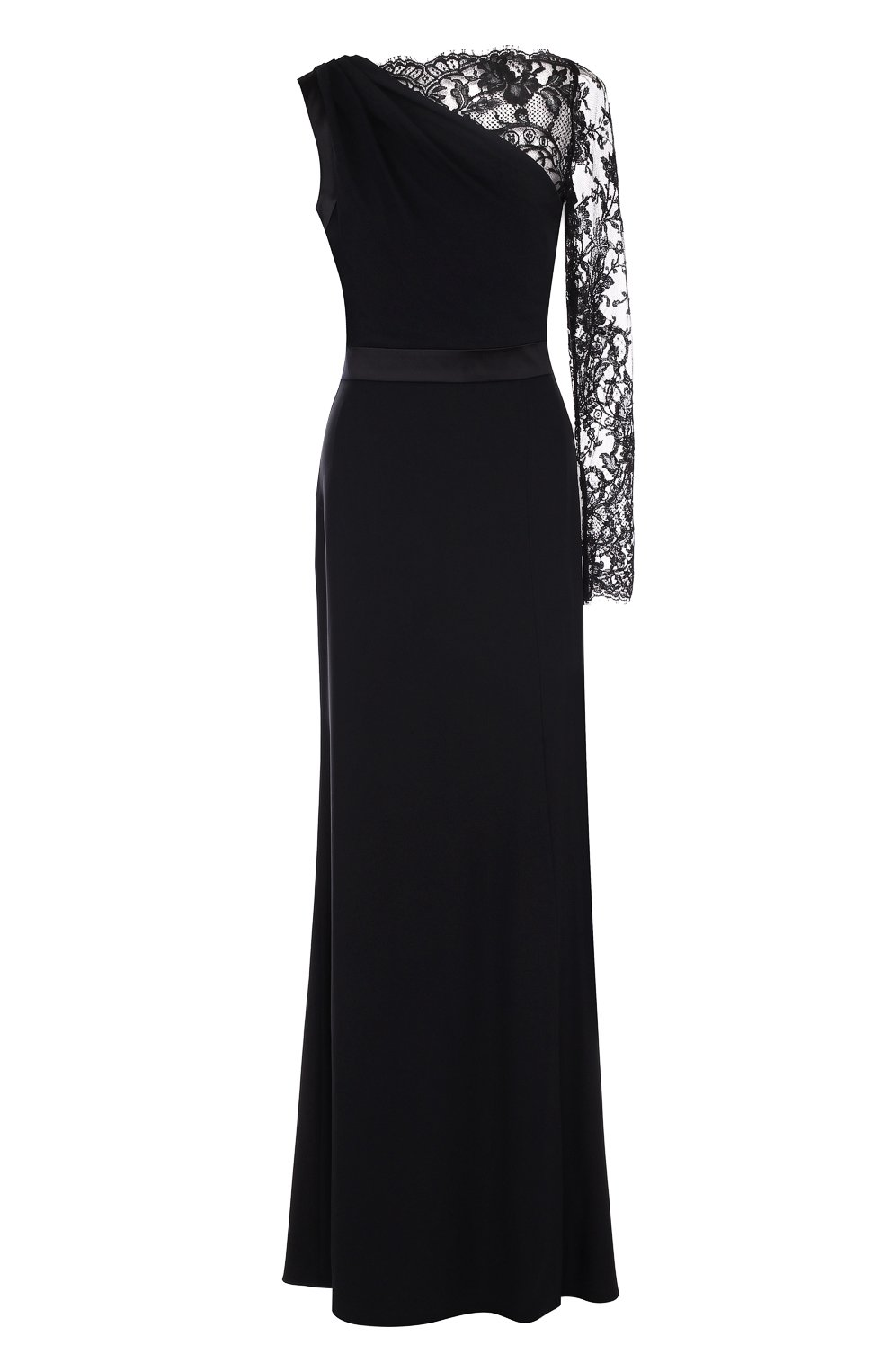 Приталенное платье-макси с кружевной отделкой | Фото №1