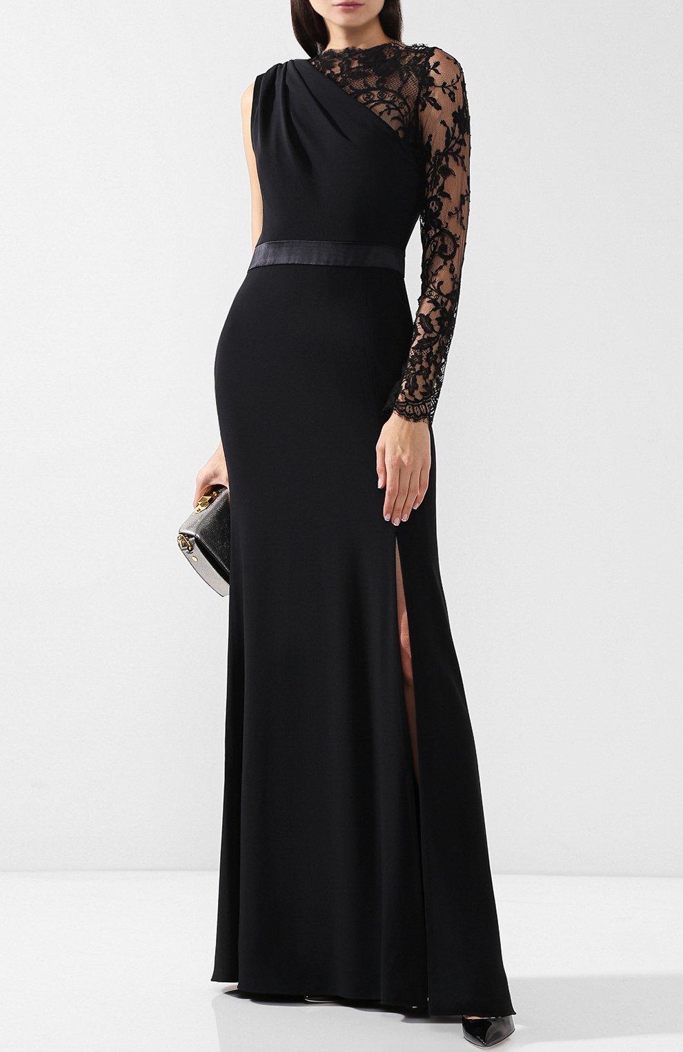 Приталенное платье-макси с кружевной отделкой | Фото №2