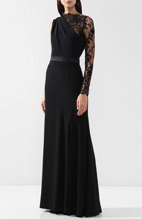 Приталенное платье-макси с кружевной отделкой | Фото №3