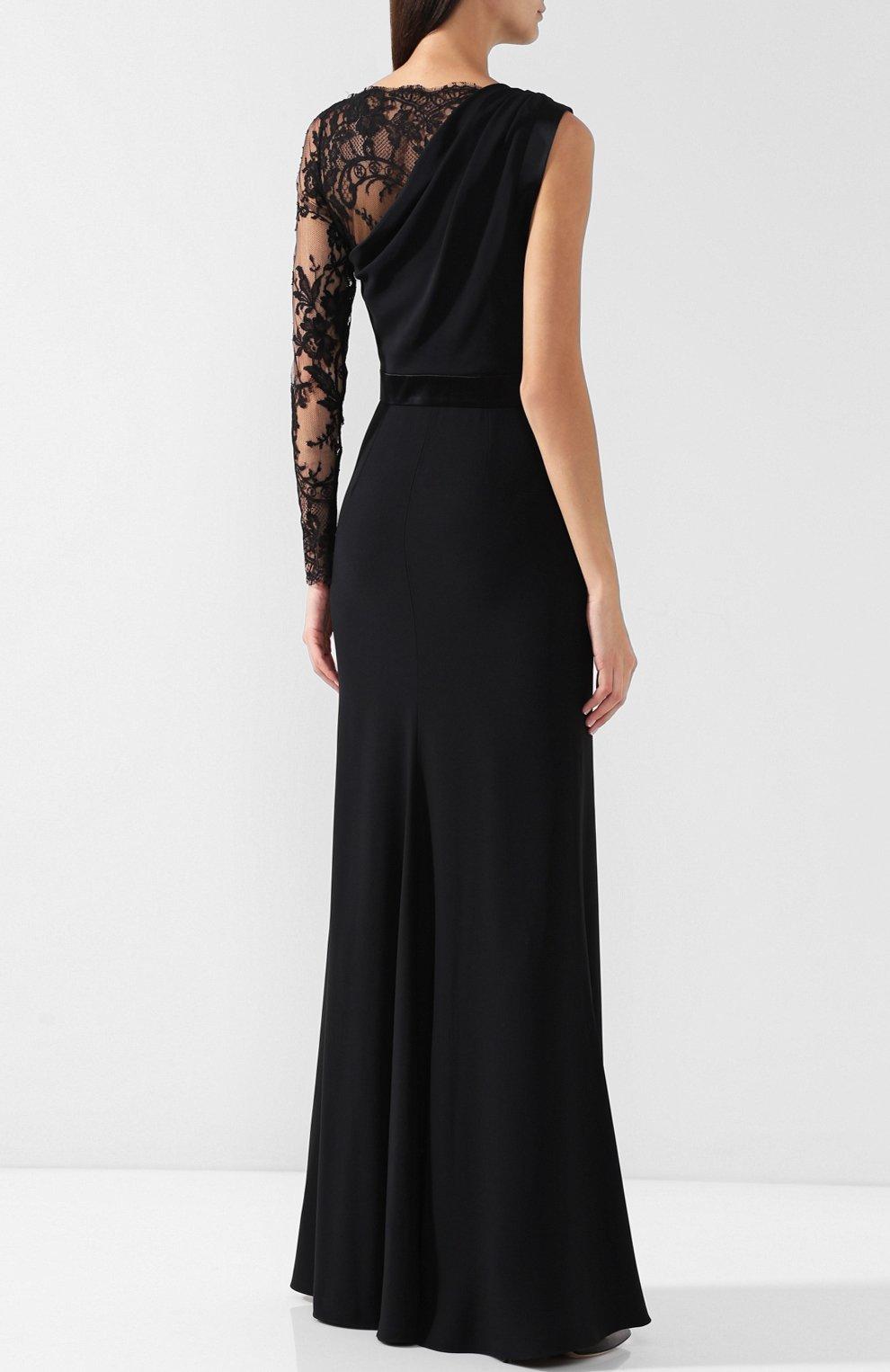 Приталенное платье-макси с кружевной отделкой | Фото №4