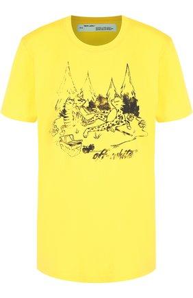 Хлопковая футболка с круглым вырезом и принтом Off-White желтая | Фото №1