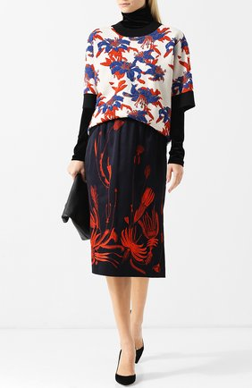 Юбка-миди с декоративной вышивкой и эластичным поясом Dries Van Noten темно-синяя   Фото №1