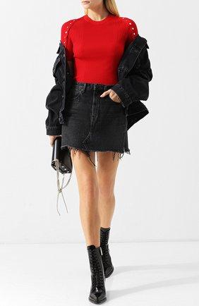 Джинсовая мини-юбка с бахромой Denim X Alexander Wang серая | Фото №1