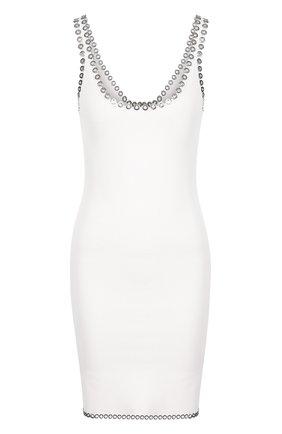 Однотонное мини-платье с металлической отделкой Alexander Wang белое | Фото №1