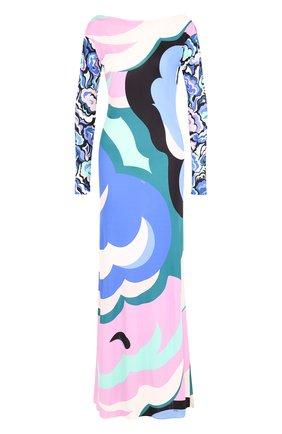 Платье-макси из смеси вискозы и шелка с принтом Emilio Pucci разноцветное | Фото №1