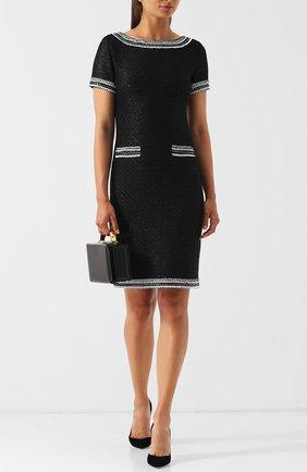Вязаное мини-платье с контрастной отделкой St. John черное | Фото №1