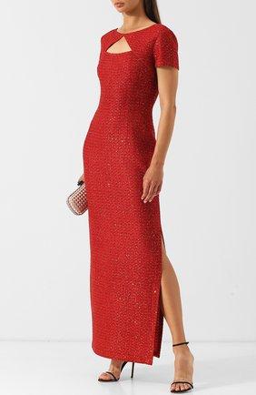 Вязаное платье-макси и высоким разрезом St. John красное | Фото №1