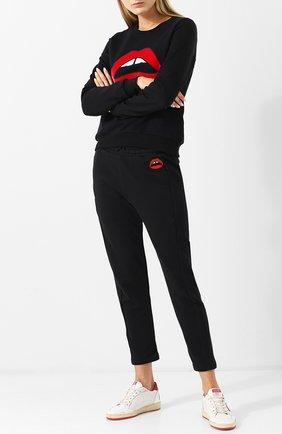 Укороченные хлопковые брюки с эластичным поясом Markus Lupfer черные | Фото №1