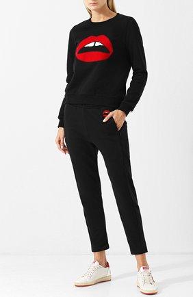 Хлопковый пуловер с круглый вырезом и принтом Markus Lupfer черный | Фото №1