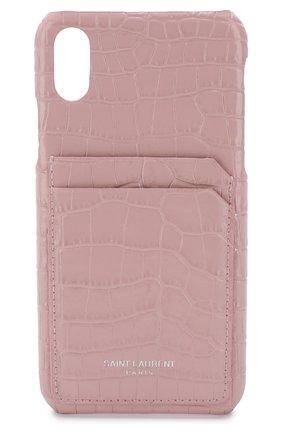Кожаный чехол для iPhone X Saint Laurent  | Фото №1