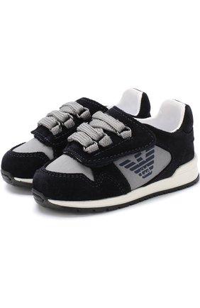 Текстильные кроссовки с застежкой велькро и замшевой отделкой | Фото №1