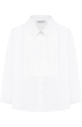 Детская хлопковая сорочка под смокинг DOLCE & GABBANA белого цвета, арт. L42S56/FU5GK/2-6 | Фото 1 (Материал внешний: Хлопок; Рукава: Длинные; Статус проверки: Проверена категория; Принт: Без принта; Случай: Формальный; Стили: Классический; Ростовка одежда: 2 года | 92 см, 3 года | 98 см, 4 года | 104 см, 5 лет | 110 см, 6 лет | 116 см)