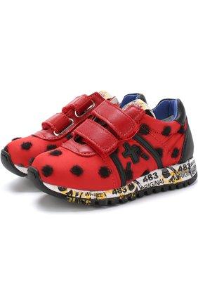 Детские текстильные кроссовки с кожаной отделкой и застежками велькро Premiata will be красного цвета | Фото №1