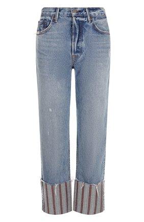 Укороченные джинсы с потертостями и отворотами GRLFRND синие | Фото №1