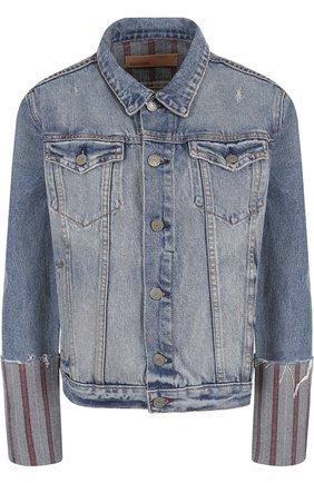 Джинсовая куртка с потертостями GRLFRND синяя | Фото №1
