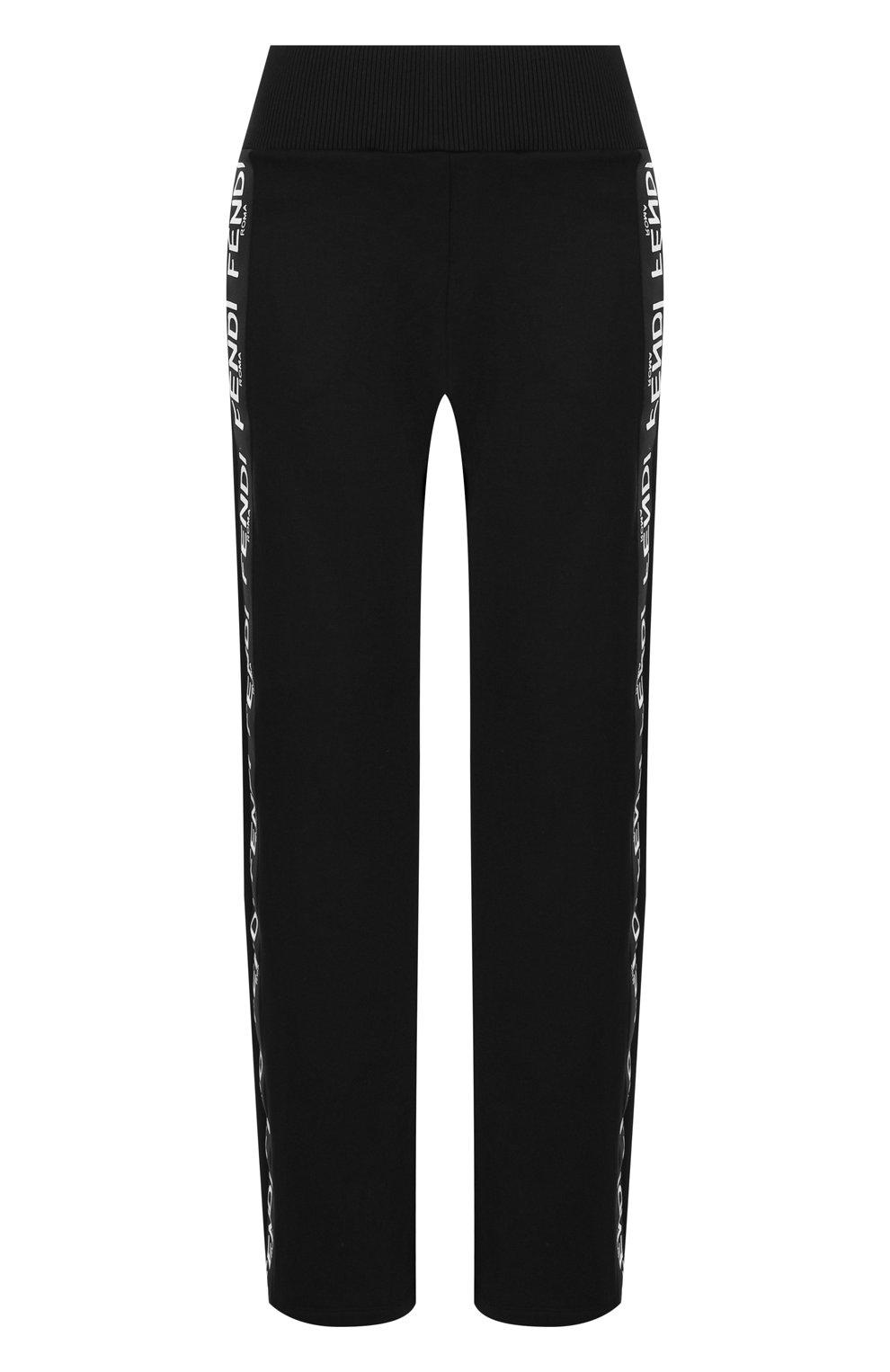 Укороченные хлопковые брюки с логотипом бренда   Фото №1