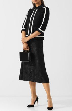 Вязаный жакет с контрастной отделкой и накладными карманами St. John черный | Фото №1