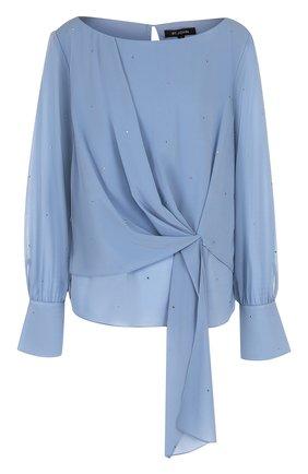 Женская шелковая блуза с оборкой и декоративной отделкой St. John, цвет голубой, арт. K52SW12 в ЦУМ | Фото №1