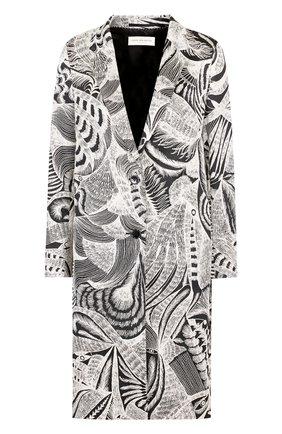 Пальто прямого кроя с принтом Dries Van Noten черного цвета   Фото №1