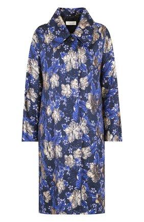 Пальто свободного кроя с принтом Dries Van Noten синего цвета   Фото №1