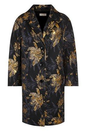 Пальто со спущенным рукавом и принтом Dries Van Noten черного цвета   Фото №1