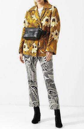 Жакет с накладными карманами и принтом Dries Van Noten желтый   Фото №1