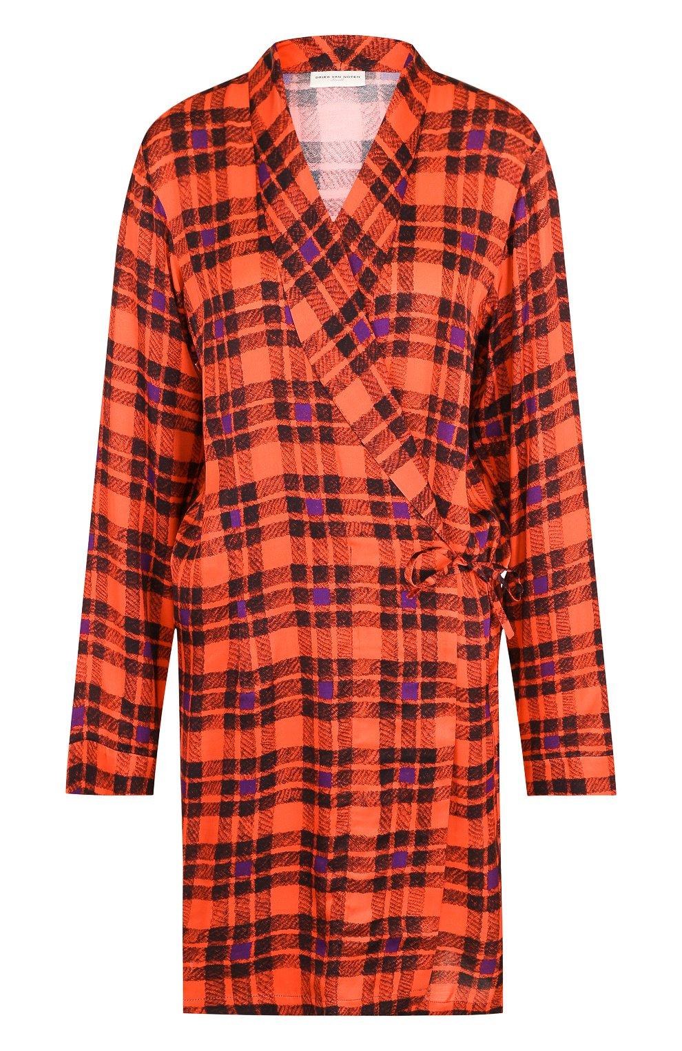 d94d0cee584 Женская красная удлиненная блуза в клетку с запахом DRIES VAN NOTEN ...