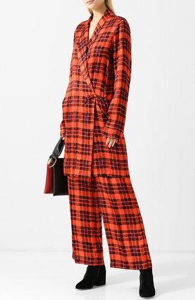 Женская удлиненная блуза в клетку с запахом Dries Van Noten, цвет красный, арт. 182-30716-6011 в ЦУМ   Фото №1