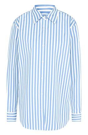 Женская хлопковая блуза в полоску Dries Van Noten, цвет черный, арт. 182-30744-6050 в ЦУМ   Фото №1