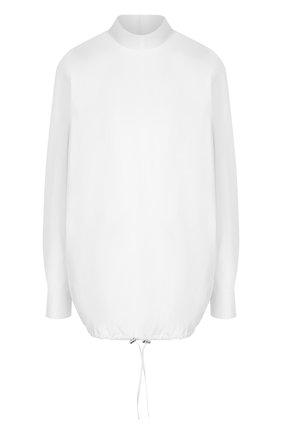 Женская однотонная хлопковая блуза с воротником-стойкой Dries Van Noten, цвет белый, арт. 182-30756-6269 в ЦУМ   Фото №1