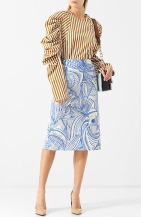 Женская хлопковая блуза с объемными рукавами и драпировкой Dries Van Noten, цвет бежевый, арт. 182-30772-6050 в ЦУМ   Фото №1