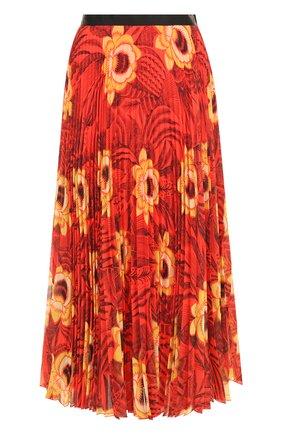 Плиссированная юбка-миди с принтом Dries Van Noten красная   Фото №1
