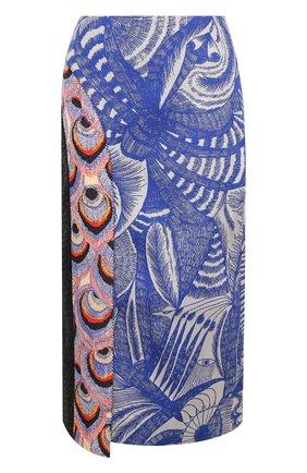 Юбка-миди асимметричного кроя с принтом Dries Van Noten синяя   Фото №1