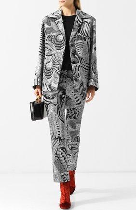 Укороченные брюки с принтом Dries Van Noten черные   Фото №1
