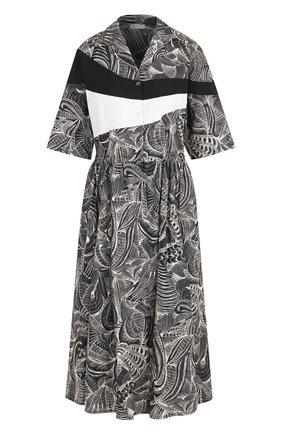 Хлопковое платье-миди с принтом Dries Van Noten черное   Фото №1