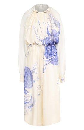 Шелковое платье-миди с принтом Dries Van Noten синее   Фото №1