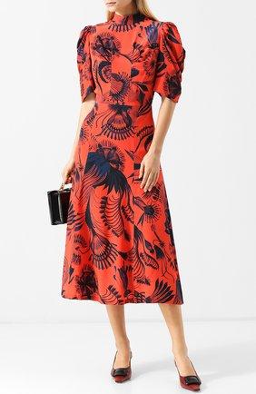 Приталенное шелковое платье-миди с принтом и воротником-стойкой Dries Van Noten красное   Фото №1
