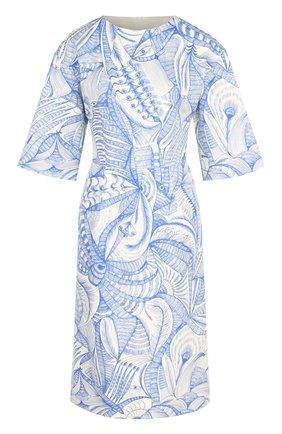 Хлопковое платье с круглым вырезом и принтом Dries Van Noten голубое   Фото №1