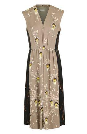 Приталенное платье-миди с V-образным вырезом и принтом Dries Van Noten бежевое   Фото №1