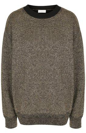 Пуловер свободного кроя с контрастным воротником Dries Van Noten золотой   Фото №1